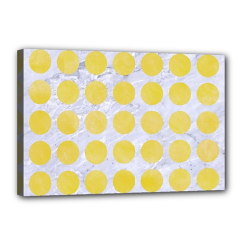 Circles1 White Marble & Yellow Watercolor (r) Canvas 18  X 12  by trendistuff