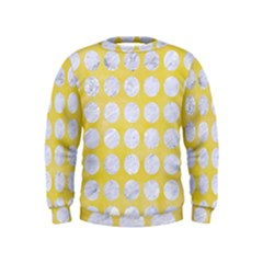 Circles1 White Marble & Yellow Watercolor Kids  Sweatshirt