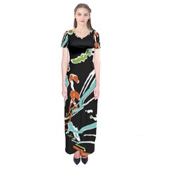 Multicolor Abstract Design Short Sleeve Maxi Dress