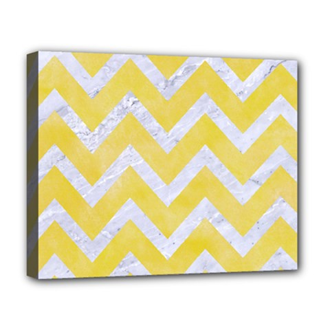 Chevron9 White Marble & Yellow Watercolor Deluxe Canvas 20  X 16   by trendistuff
