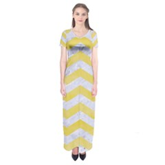 Chevron3 White Marble & Yellow Watercolor Short Sleeve Maxi Dress