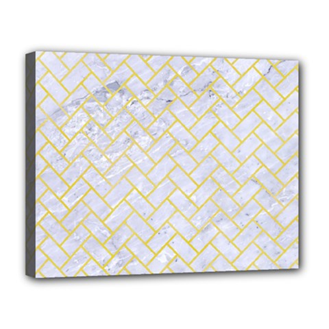 Brick2 White Marble & Yellow Watercolor (r) Canvas 14  X 11  by trendistuff