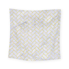 Brick2 White Marble & Yellow Watercolor (r) Square Tapestry (small) by trendistuff