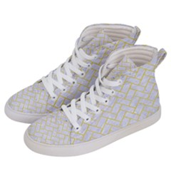 Brick2 White Marble & Yellow Watercolor (r) Women s Hi Top Skate Sneakers by trendistuff