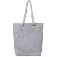 Brick2 White Marble & Yellow Watercolor (r) Full Print Rope Handle Tote (small) by trendistuff