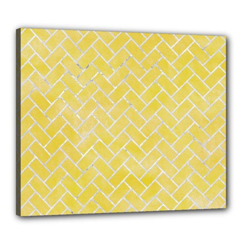 Brick2 White Marble & Yellow Watercolor Canvas 24  X 20  by trendistuff