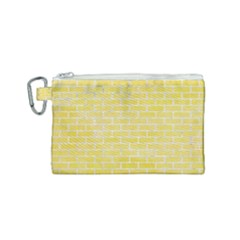 Brick1 White Marble & Yellow Watercolor Canvas Cosmetic Bag (small) by trendistuff