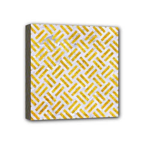 Woven2 White Marble & Yellow Marble (r) Mini Canvas 4  X 4  by trendistuff