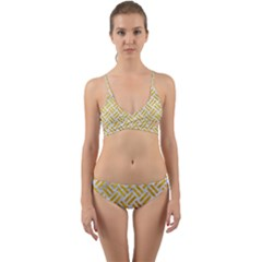 Woven2 White Marble & Yellow Marble (r) Wrap Around Bikini Set