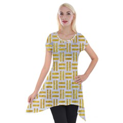 Woven1 White Marble & Yellow Marble (r) Short Sleeve Side Drop Tunic