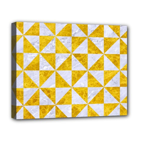 Triangle1 White Marble & Yellow Marble Deluxe Canvas 20  X 16   by trendistuff