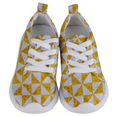 Triangle1 White Marble & Yellow Marble Kids  Lightweight Sports Shoes