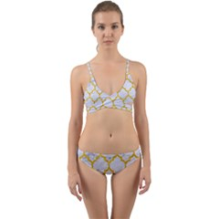 Tile1 White Marble & Yellow Marble (r) Wrap Around Bikini Set