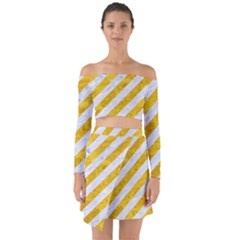 Stripes3 White Marble & Yellow Marble (r) Off Shoulder Top With Skirt Set