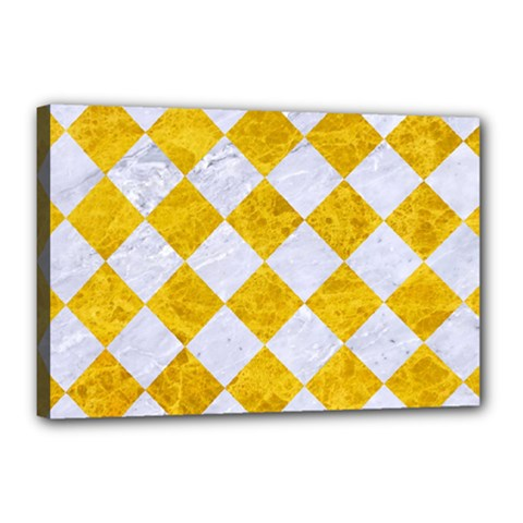 Square2 White Marble & Yellow Marble Canvas 18  X 12  by trendistuff