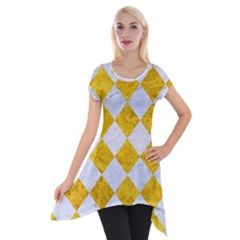 Square2 White Marble & Yellow Marble Short Sleeve Side Drop Tunic
