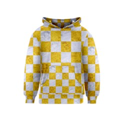 Square1 White Marble & Yellow Marble Kids  Pullover Hoodie by trendistuff