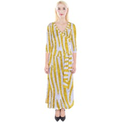 Skin4 White Marble & Yellow Marble Quarter Sleeve Wrap Maxi Dress