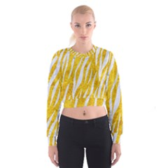 Skin3 White Marble & Yellow Marble Cropped Sweatshirt
