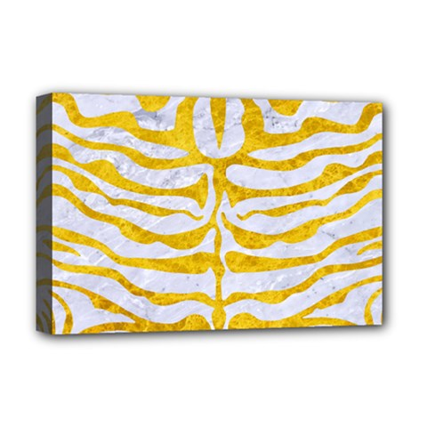 Skin2 White Marble & Yellow Marble (r) Deluxe Canvas 18  X 12   by trendistuff