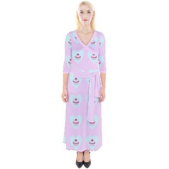 Pink Cupcake Quarter Sleeve Wrap Maxi Dress by snowwhitegirl
