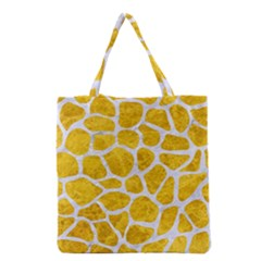 Skin1 White Marble & Yellow Marble (r) Grocery Tote Bag by trendistuff