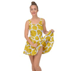 Skin1 White Marble & Yellow Marble (r) Inside Out Dress