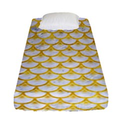 Scales3 White Marble & Yellow Marble (r) Fitted Sheet (single Size) by trendistuff