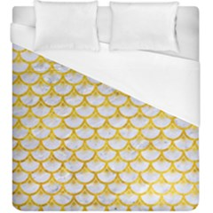 Scales3 White Marble & Yellow Marble (r) Duvet Cover (king Size) by trendistuff