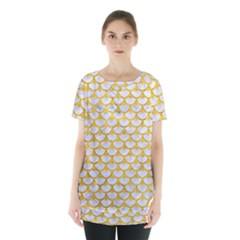 Scales3 White Marble & Yellow Marble (r) Skirt Hem Sports Top by trendistuff