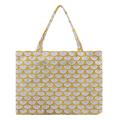 Scales3 White Marble & Yellow Marble (r) Medium Tote Bag by trendistuff