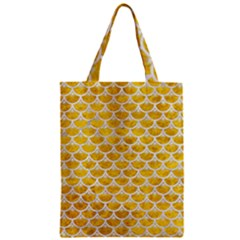 Scales3 White Marble & Yellow Marble Zipper Classic Tote Bag
