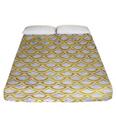 Scales2 White Marble & Yellow Marble (r) Fitted Sheet (california King Size) by trendistuff