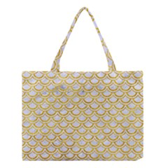 Scales2 White Marble & Yellow Marble (r) Medium Tote Bag by trendistuff