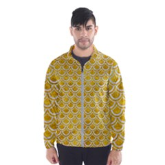 Scales2 White Marble & Yellow Marble Wind Breaker (men)