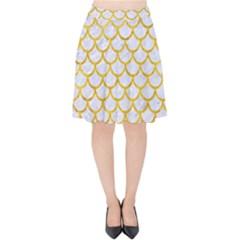 Scales1 White Marble & Yellow Marble (r) Velvet High Waist Skirt by trendistuff