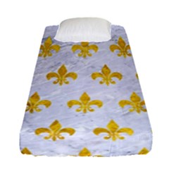 Royal1 White Marble & Yellow Marble Fitted Sheet (single Size) by trendistuff