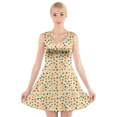 Vintage Hearts V Neck Sleeveless Skater Dress