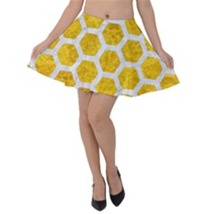 Hexagon2 White Marble & Yellow Marble Velvet Skater Skirt