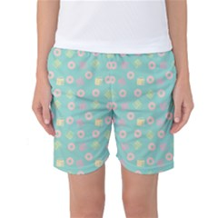 Teal Donuts And Milk Women s Basketball Shorts by snowwhitegirl