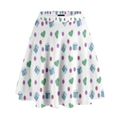 White Milk Hearts High Waist Skirt by snowwhitegirl