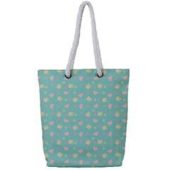 Teal Milk Hearts Full Print Rope Handle Tote (small) by snowwhitegirl
