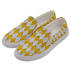 Diamond1 White Marble & Yellow Marble Men s Canvas Slip Ons by trendistuff
