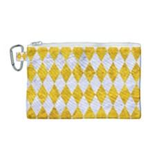 Diamond1 White Marble & Yellow Marble Canvas Cosmetic Bag (medium) by trendistuff
