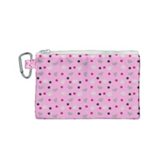 Pink Milk Hearts Canvas Cosmetic Bag (small)