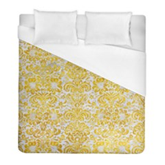 Damask2 White Marble & Yellow Marble (r) Duvet Cover (full/ Double Size) by trendistuff