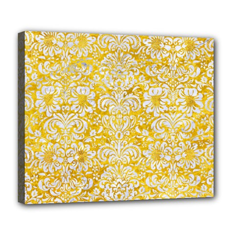 Damask2 White Marble & Yellow Marble Deluxe Canvas 24  X 20   by trendistuff