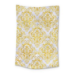 Damask1 White Marble & Yellow Marble (r) Small Tapestry by trendistuff