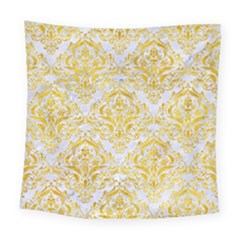 Damask1 White Marble & Yellow Marble (r) Square Tapestry (large) by trendistuff
