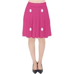Small Pink Dot Velvet High Waist Skirt by snowwhitegirl